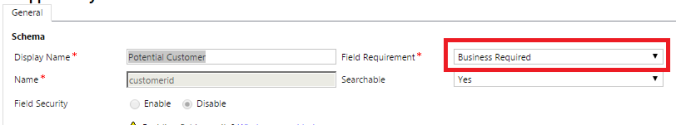 Field Create Capture - Field Requirement